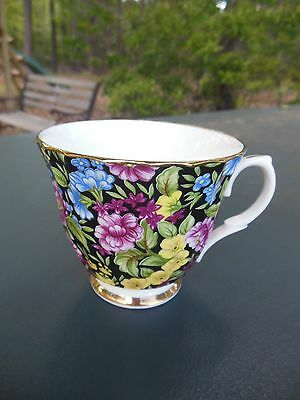 Bethany Staffordshire England Cup BNY5 Floral Black Blue Pink Yellow Gold Trim