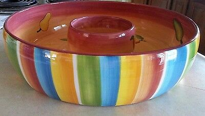Nobel Excellence Hacienda Chip and Dip Bowl One Piece Multi Color Striped