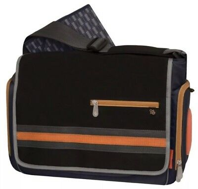 Brand NEW Fisher-Price Deluxe Messenger Diaper Bag, Navy/Grey/Orange