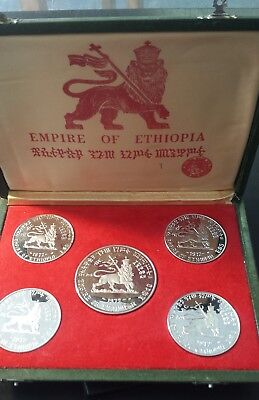 Ethiopia 1972 Five Emperors Sterling Silver Proof Set