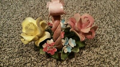 Post 1940 Capodimonte Porcelain 2 Roses In Basket Italy Flowers Floral