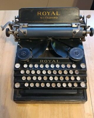 Royal Standard No. 1 Typewriter Antique 1908 Black Flatbed - 110 Years Old
