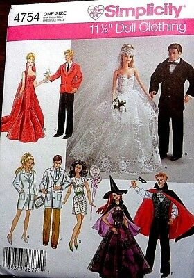 """Simplicity 11 1/2"""" Fashion Doll Clothes     -   Oop  Uncut Pattern (4754)"""