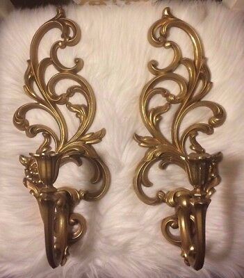 2 VTG Syroco Gold Gilt Hollywood Regency Rococo Wall Sconce Candle Holder Pair