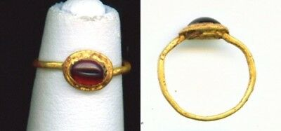 Roman Circa 50 Bc -100 Ad Genuine Gold & Cabochon Garnet Childs Ring Coa