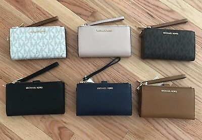 NWT Michael Kors Jet Set Travel Double Zip Multi Function Phone Wristlet Wallet