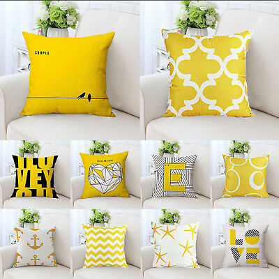 Yellow Geometric Home Decorative Cotton Throw Square Pillow Case Cushion Cover