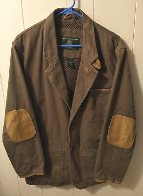 ORVIS Men's Hunting Jacket Blazer Green Brown Leather Trim Patch Elbows Small