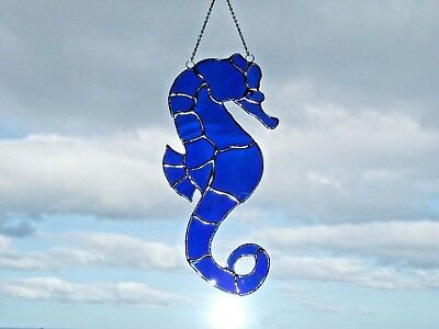 Handmade Stained Glass blue water glass seahorse Sun-catcher window decoration
