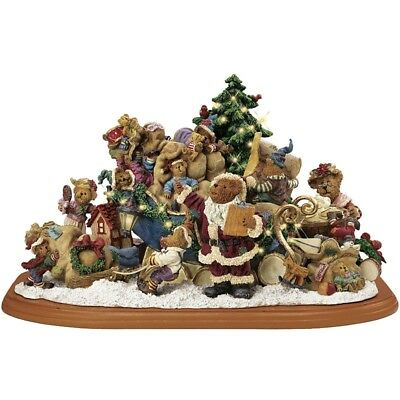 Boyds Bears Christmas Sleigh Lighted Sculpture ~ Danbury Mint ~ NEW