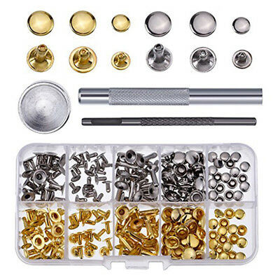 Rivets Single Cap Rivet Tubular Metal Studs w/ Fixing Tool Kit for Leather 6/8mm