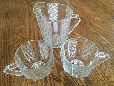 Vtg Depression Era Clear Glass Striped Pebble Pattern Little Pitcher w/ 2 Cups