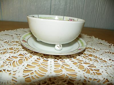 Nippon Hand Painted Tea Cup with Matching Saucer No handle on cup Floral
