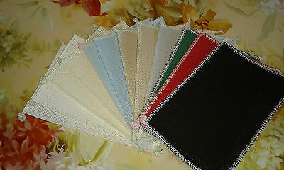 "16ct Aida 12 PIECES 6""x4"" in 8 colours 4 cards costers  4 DMC or Anchor threads"