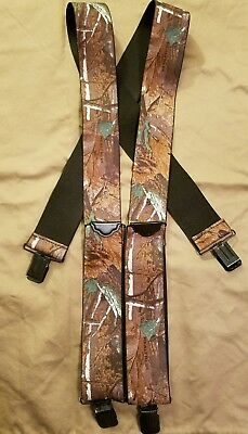 New Realtree Men's Elastic Clip-End 2 Inch Camo Suspenders USA Made