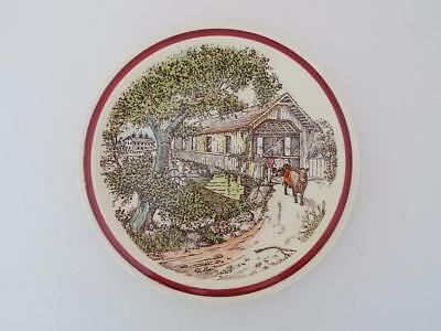 Vernon Kilns Calif. Pottery Bits of Old New England The Old Covered Bridge Plate