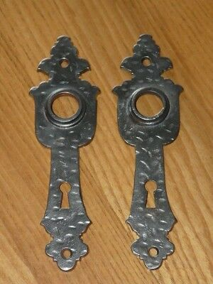 2 Antique CORBIN Cast Iron Door Knob Backplates - 6 ''916 X 1'' 1516 (inches)