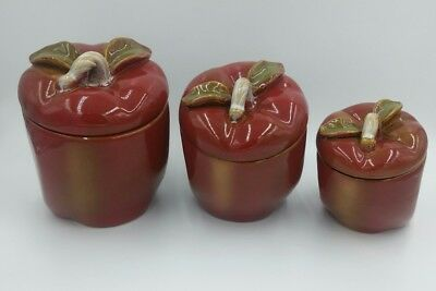 3 Red Apple Canisters / Red Apple Shaped with Sealing Lid