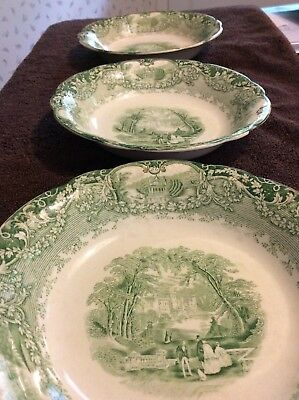 "Set of 3 J&G Meakin 7 1/2"" Soup Bowls Green ""Virginia"" Pattern c1891 - Rare"