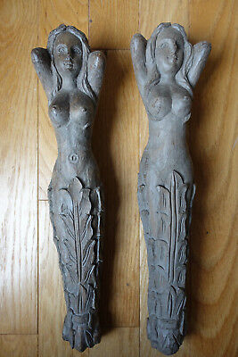 "18"" Pair Hand Carved Wooden Corbels shelf brackets lady"