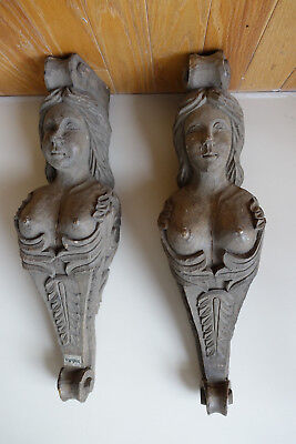 "Large 24"" Pair Hand Carved Wooden Corbels shelf brackets lady"
