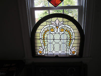 c.1890 Victorian Antique Stained Glass Display Window, 30 jewels of all sizes