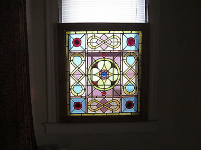 c.1870 Primitive Antique Stained Glass Window, 7 roundels, crack free