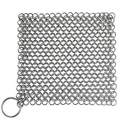Cast Iron Cleaner Scrubber XL 7x7 Stainless Steel Chainmail Skillet Pan Griddle
