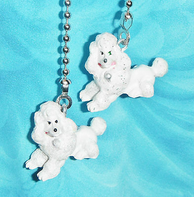 Set of Two ~ Cute!  French Poodle Laying Glittery ~  Ceiling Fan/Light Pulls
