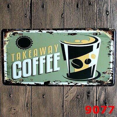 Metal Tin Sign takeaway coffee Decor Bar Pub Home Vintage Retro Poster Cafe ART