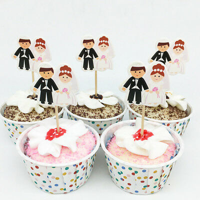 24Pcs Bride Groom Wedding Cake Topper Party Romantic Decoration Supplies
