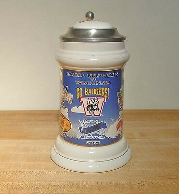 GO BADGERS - Leinenkugel's Small Breweries Stein 1994 * Rare! Only 150 Made! WI.