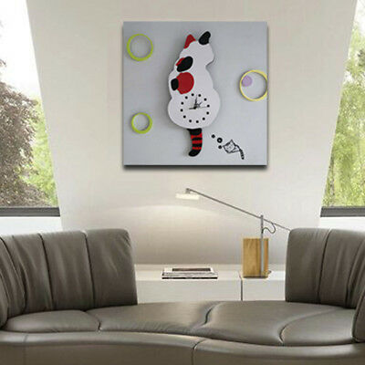 Acrylic Creative Cartoon Cat Wall Clock Watch Way Tail Move Cute Home Decor