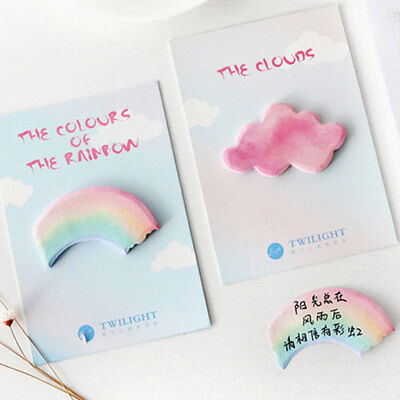 Creative Watercolor Rainbow Cloud Sticky Notes Memo Pad Planner Stickers Hot
