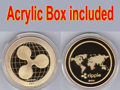 1x Gold Ripple Commemorative Round Collectors Coin XRP Coin is Gold Plated Coins