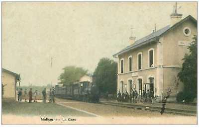 72 .n° 32990 . malcorne.la gare.train