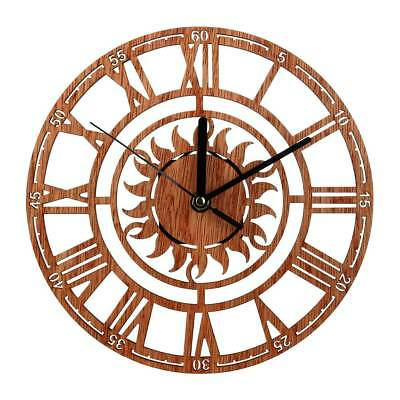 Vintage Antique Style Wooden MDF Wall Clock Round Chic Rustic Kitchen Home Decor