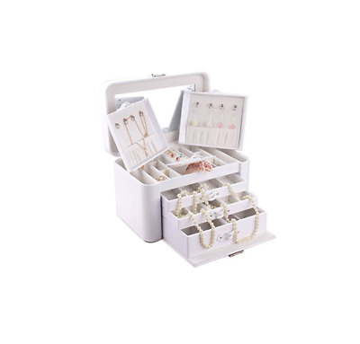 ROWLING Creamy White Faux Leather Jewellery Display Box ZG149 Cheapest on Ebay