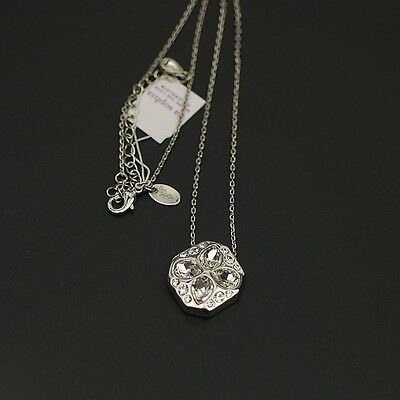 NWT lia sophia jewelry polished silver plated cut crystal pendant necklace chain