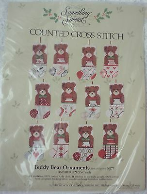 SOMETHING SPECIAL Counted Cross Stitch 12 Teddy bear ornaments kit. New