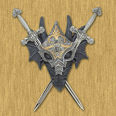 DRAGONS: Armored Medieval Dragon Wall Plaque NEW