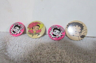 Collection Of 4 Vintage Betty Boop Pin Back Button