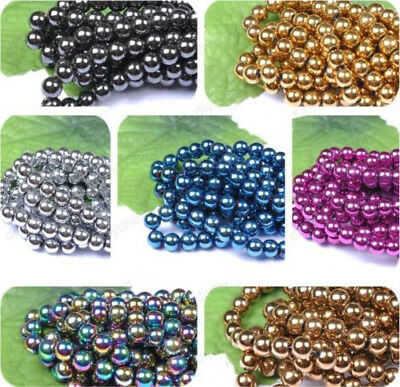 4MM 6MM 8MM 10MM 12MM Ball BLACK NON-MAGNETIC Natural HEMATITE Spacer BEADS Diy