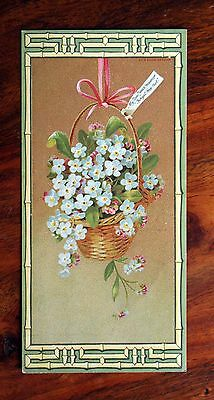 Large Victorian New Year Greetings Card Marcus Ward Forget Me Not Basket