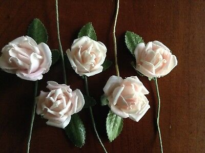 "Vintage Millinery Flower Rose 5pc Lot Cotton 1 1/8"" Soft Pink for Hair Crown UA"