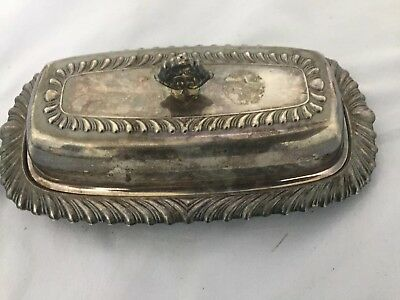 Silver 3 piece butter dish with Starburst glass insert
