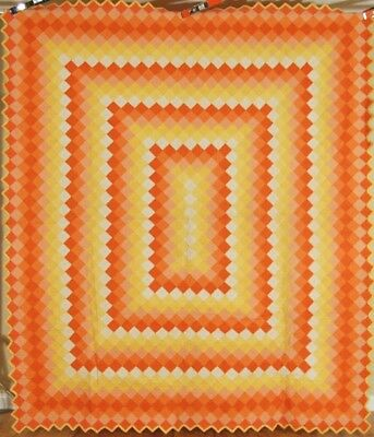 WELL QUILTED Vintage 30's Trip Around the World Antique Quilt ~SUNSET COLORS!