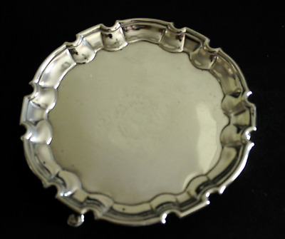 Antique English Georgian Sterling Silver Salver Tray 1752