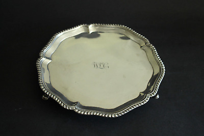 Scottish Georgian Sterling Silver Tray Salver Footed Edinburgh 1776