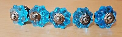 Blue Crystal 5 Pc Drawer Pulls Cabinet Door Handles Vintage Glass Knobs Set of 5